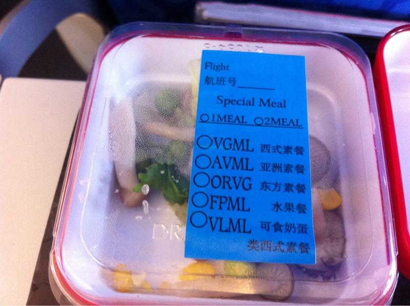 comida vegetariana no avião